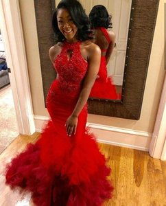 Mermaid Prom Dresses African Black Girl Sexy Backless Evening Gowns Appliques Beaded Ruffles Skirt Halter Neck Formal Party Dress