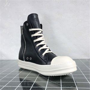 Ro Herren Leder Sneakers Mode weiche Männer Lederstiefel High Top Schwarz Herbst-Winter-Turnschuhe 10 # 20 / 20d50