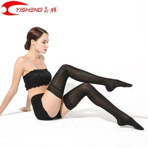 Banda Lace YISHENG Compressão Meias Varizes Mulheres Stocking para o verão 15-20mmHg