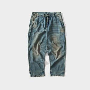 2019 Japanese Retro Denim Loose Deep Men's Jeans Distressed Casual Men Denim Cargo Pants