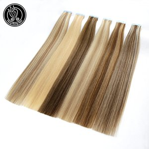 Skin Weft Extensions Tape In Human Hair Extension 100% Real Remy European Human Skin Weft Tape On Straight Hair Extensions 16""