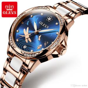 senhoras OLEVS relógio mecânico de aço inoxidável alça de cerâmica impermeável calendário luminosa luxo strass relógio libélula