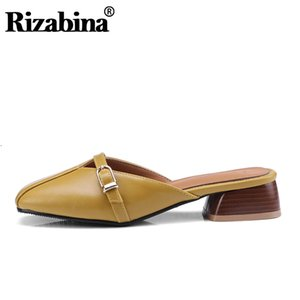 Rizabina Plus Size 31-46 Bowtie doce Sandálias Mulheres Moda Slip On Quadrados Toe Shoes Women Thick Leather Ladies Footwear