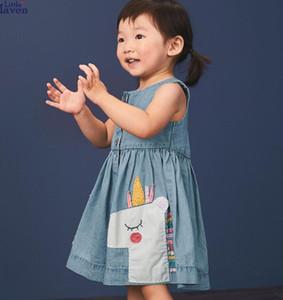 Collar menina Miúdos roupa vestido Rodada mangas Denim Unicorn Design Vestido menina elegante vestido roupa da menina