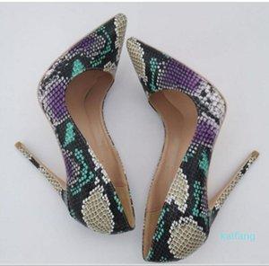 Hot Luxus Serpentin Druck Frauen rote untere Schuhe mit hohen Absätzen Cusp Feine Ferse einzelne Schuhe 8cm 10cm 12cm große Größe 45 Shallow Mund