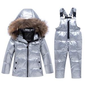 Childrens lusso Giacca Down Imposta bambini marchio solido Colore Imposta Ragazzi collo di pelliccia di spessore Zipper Bright insieme Face Down Jacket Top + i pantaloni della invernali