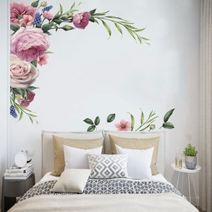 Large Peony Rose Wall Stickers DIY Vintage Flowers Wallpaper For Bedroom Living Room Decals Mural Home Decor kid Girls Gift