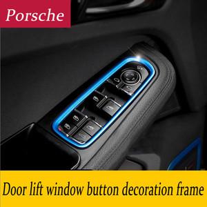 Car Styling Interior Janela da porta Levante interruptor Panel Buttons Frame da decoração 3D Cover tickers para Porsche Panamera Cayenne Macan Acessórios