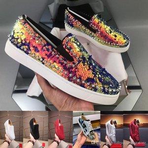 Triple S Designer Sneakers Red inferior Low Cut Spikes Flats sapatos para homens mulheres sapatilhas de couro calçados casuais com saco de poeira com caixa