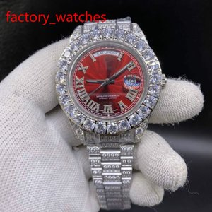 do Prong Set Homens Diamond Watch Hot Sale relógios de alta qualidade 43 milímetros aço inoxidável 316 caixa de prata rosto vermelho Watch Watches Automatic