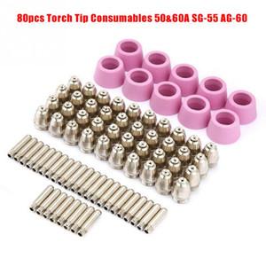 80pcs Plasma Cutter Cutting Torch Tip Electrodes SG55 AG60 WSD-60 CUT60 LGK60 Air Plasma Cutter Cutting Nozzles Consumable Kits