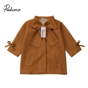 Ginger Bébés filles hiver manteau chaud Bow Woollen Manteau Pardessus Outwear Veste longue pour les enfants Parka coupe-vent Tissu Kid enfant en bas âge