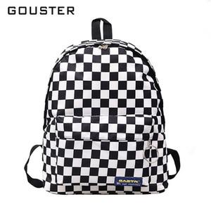 2019 핫 세일 여성 남성 유니섹스 격자 배낭 새로운 트렌드 체커 보드 십대 학교 가방 커플 백 팩 여행 가방