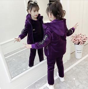 Girls fall winter 2019 new big children's gold velvet suit thickening foreign girl plus velvet three-piece