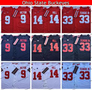 2019 Ohio State Buckeyes 33 Meister Teague III 14 K. J. Hill 9 Binjimen Victor College Football Jerseys 7 Dwayne Haskins Jr.