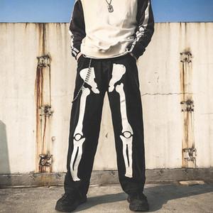 Männer Skelett übergroßen Black Jeans Hosen 2021 Denim Mens Streetwear Hip Hop Harem Hosen High WASIM Denim Overalls