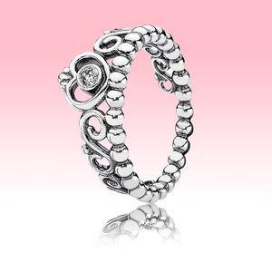 لطيف المرأة الصيف RING CZ مجوهرات الماس مع مربع الأصلي لبيع الهدايا باندورا 925 فضة زفاف الأميرة تيارا حزام التاج