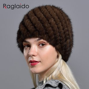 Raglaido gestrickte Nerz-Pelz-Hüte für Frauen echter natürlichen Pelz Ananas Cap Winter-Schnee-Hut-russischer Echtpelzmütze LQ11191 Y191109