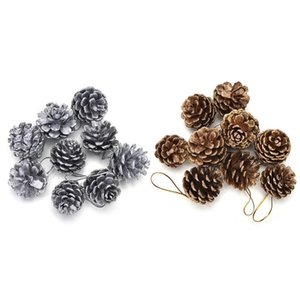 9Pcs Christmas Tree Pine Cones Pinecone Hanging Ball Holiday Xmas New Year Party Ornament For Home Festival 2Colors Supplies