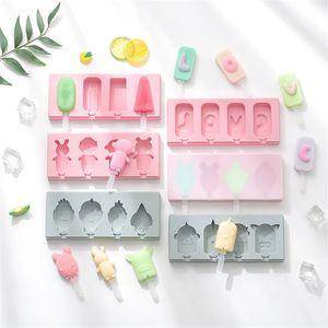 Silicone Ice Lolly Moldes Animal Love Forma Ice Mold Lolly Bandeja Home Made DIY Verão Ice Cream com tampa