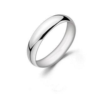 Kadın Erkek Yüksek Kalite Beyaz Altın Renk Yıldönümü Doğum hediyesi için 5 mm Katı 925 Gümüş Yüzük