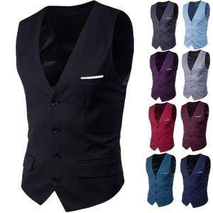 mens designer slim suit large size sleeveless formal European-size vest thin coat