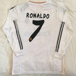 ZIDANE RAUL RONALDO KAKA PEPE ISCO RAMOS 2013 2014 de futebol Retro 13 14 camisa cheia Europeu Retro CLP Real Madrid de futebol de manga comprida camisola