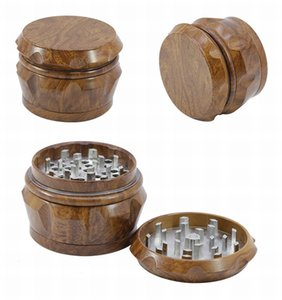 Wood Tobacco crusher Herb Grinder 2019 new 4 piece 40m 50mm 55mm 63mm Smoking Set pollen press catcher drum-shape metal grinders DHL