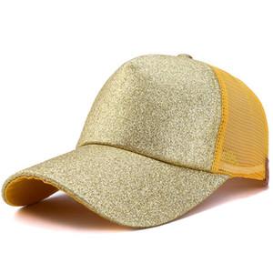 Düz katı At Kuyruğu Beyzbol şapkası Dağınık Buns şapka Trucker Pony Glitter Pullu Baba Şapka Snapbacks LJJA3681 açık yaz örgü kapakları