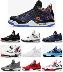 Yeni 4 4s Menekşe Sadık Mavi Üstü Sneakers ile Box itibaren Saf Para Erkekler Basketbol Ayakkabı Beyaz Çimento Ateş Kırmızı Dunk Bred Rush