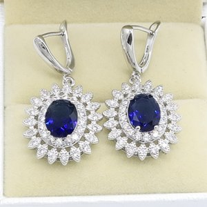 Natural Blue Zircon White Crystal 925 Sterling Silver Jewelry Sets For Women Party Earrings Pendant Necklace Rings Bracelet