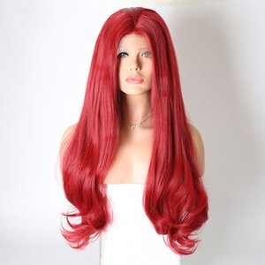 Halloween New Cosplay Red Color Glueless Synthetic Lace Front Wig Long Wavy Heat Resistant Fiber Hair Wigs For Party Women 180% Density