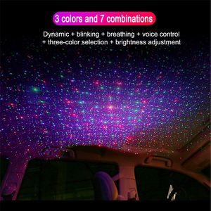 Interior de carro Led Atmosfera Lamp Ambient Star Light USB Projetor Starlight Car Roof Night Light Car Styling
