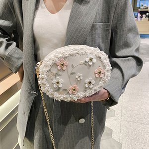 Small Embroidery Flower Women Day Clutch Chain Shoulder Summer Lady Handbags Lace Beaded Wedding Purse Bags