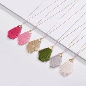 Fashion Jewelry 2020 Frühlings-Sommer-neues Design Bunte Fransen Quaste hängende langkettige Halskette für Frauen