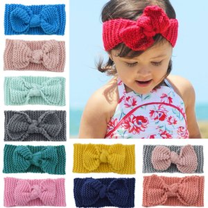 Europe Fashion Child Baby Knitted Headbands Girls Hair Bands Childrens Bowknot Hair Accessories Lovely Kids Headwraps 32 Colors 15082