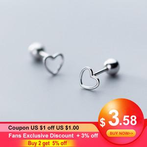 Korean kleines hohles Herz 925 Sterlingsilber-Schraube-Bolzen-Ohrringe für Frauen-Mädchen-Kinder Mini Minimalist Schmuck Love Geschenke Brinco