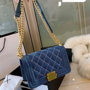 Designer Crossbody Beutel Designer Wallet Designer Luxus-Handtaschen Portemonnaie Cowboy Leinwand Diamant-Gitter-Frauen-Kette einzelner Schulter-Paket