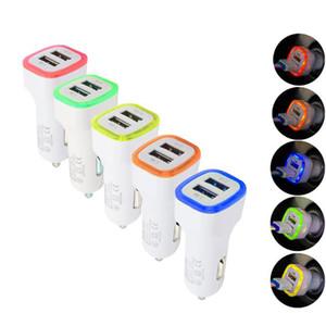 5V 2.1A duplas portas USB Led Luz Car Charger Adaptador Universal Charing Adaptador para iphone Samsung S10 HTC LG telefone celular