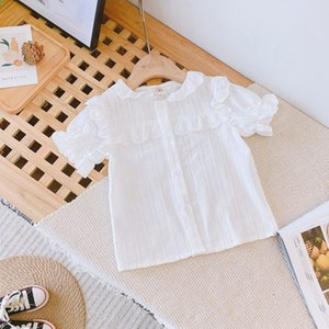 pQedZ Children's baby summer clothes 2020 pure cotton white top girl's foreign style Children's clothing shirt short-sleeved shirt female cu