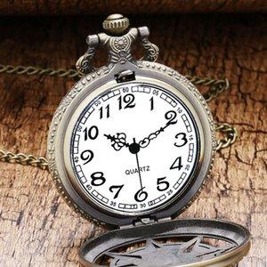 Vintage Bronze стимпанк кварцевые карманные часы Хэллоуин карибский пират Череп Глава Horror с цепочкой для мужчин ожерелье