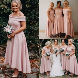 Arabic Cheap Sexy Blush Pink Bridesmaid Dresses Off Shoulder Long For Weddings High Low Ankle Length Plus Size Formal Maid of Honor Gowns