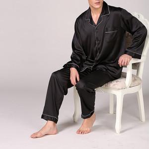 DIHOPE Erkekler Leke İpek Pajama Erkek Sleepwears Erkekler Seksi Yumuşak Homme Rahat Saten Gecelik Casual Lounge Pijama Gecelik