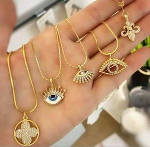 devil's eye necklace evil eye charm pendant four leaf clover pendants gold chain pendant necklace fashion jewelry