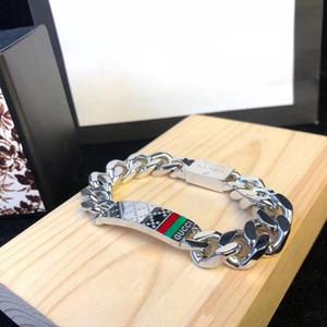 Affascinante lussuoso in acciaio inossidabile con marchio G Men Punk bracciali in titanio moda Miami catena a maglia cubana hip hop V braccialetto d'amore