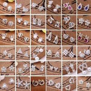 Sıcak Satış 45 Stiller Kore Küpe Yaratıcı Süper Parlak elmas New Pearl Stud Küpe Moda Takı Yüksek Kalite