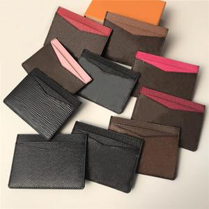 Titolare della carta classiche da uomo Donne Plaid check floreale di credito vera e propria pelle Mini piccolo portafoglio con la scatola
