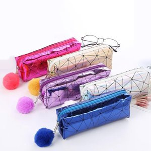 Holographic Iridescent Laser Pencil Case for Girls Boys Quality School Supplies Stationery Cute Hairball Pencil Box Bag