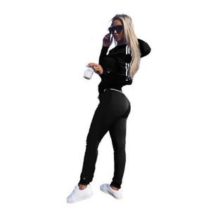 2 Unids Conjunto de Mujeres Señoras Chándal Crop Tops Sudaderas con capucha Pantalones Conjuntos Dama Ropa de Ocio Traje Casual Más Tamaño Sin Logotipo Gran Venta