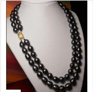"DOUBLE STRANDS10-12MM NATURAL TAHITIAN BLACK CHOCOLATE PEARL NECKLACE 18""19"""